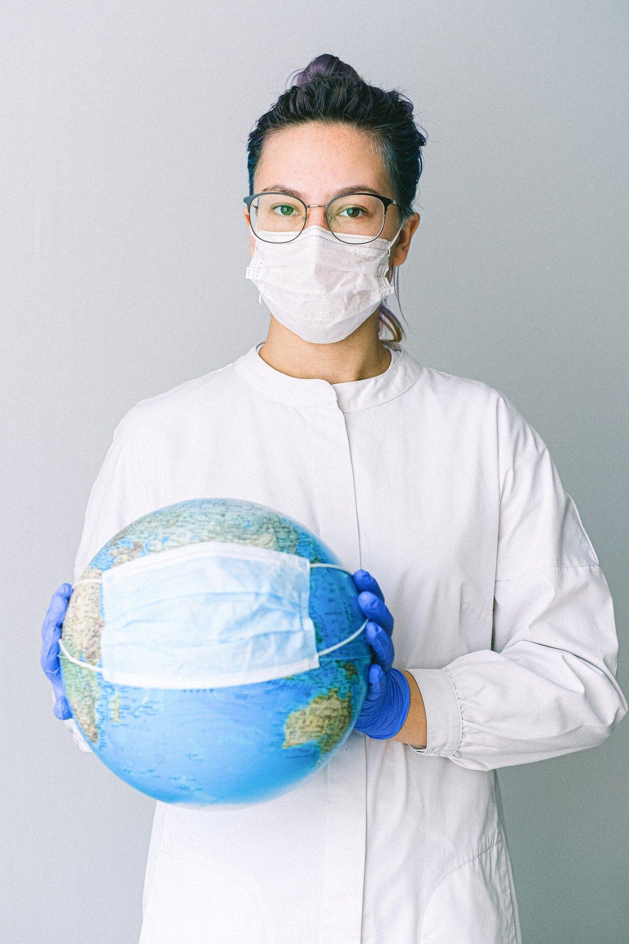 nurse with globe